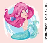 cute mermaid with fish and... | Shutterstock .eps vector #1235152288