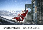 red old santa claus and winter...   Shutterstock . vector #1235152318