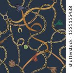 print with gold chains and... | Shutterstock .eps vector #1235155438