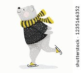 cute bear skating in winter... | Shutterstock .eps vector #1235166352