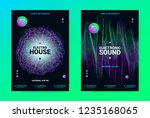 techno music poster. wave flyer ... | Shutterstock .eps vector #1235168065