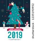 christmas greeting card... | Shutterstock .eps vector #1235193952