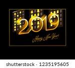 happy new year 2019. vector... | Shutterstock .eps vector #1235195605