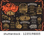 christmas menu template for... | Shutterstock .eps vector #1235198005