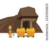 mining cave and worker with... | Shutterstock .eps vector #1235204815