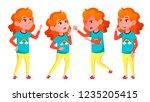 girl poses set vector. high... | Shutterstock .eps vector #1235205415