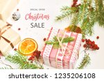 merry christmas sale background ... | Shutterstock . vector #1235206108