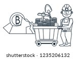mining bitcoin and worker with... | Shutterstock .eps vector #1235206132