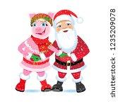 christmas vector illustration.... | Shutterstock .eps vector #1235209078