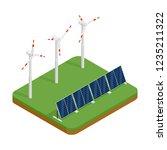 isometric plant solar panels... | Shutterstock .eps vector #1235211322