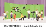 shooting action movie. people... | Shutterstock .eps vector #1235212792