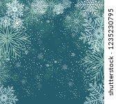white snowflakes on dark blue... | Shutterstock .eps vector #1235230795