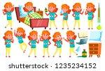 sick girl schoolgirl. ill child.... | Shutterstock . vector #1235234152