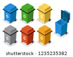 isometric garbage cans trash... | Shutterstock .eps vector #1235235382