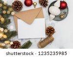 blank white christmas card... | Shutterstock . vector #1235235985