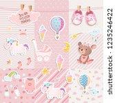 set of elements for baby shower ... | Shutterstock .eps vector #1235246422