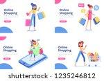 online shopping concept.... | Shutterstock .eps vector #1235246812