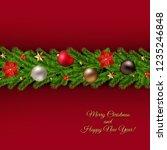 christmas garland poster  | Shutterstock . vector #1235246848