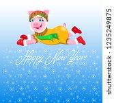 christmas vector illustration.... | Shutterstock .eps vector #1235249875