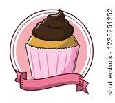 delicious cupcake dessert | Shutterstock .eps vector #1235251252