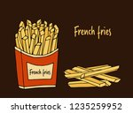 fried potatoes.  hand drawn... | Shutterstock .eps vector #1235259952