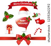merry christmas icons and... | Shutterstock . vector #1235262292