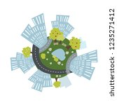 cozy urban planet with... | Shutterstock .eps vector #1235271412