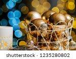 closeup christmas balls for... | Shutterstock . vector #1235280802