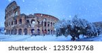 rome   italy   02 02 2018  snow ... | Shutterstock . vector #1235293768