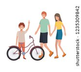 group of people with bicycle... | Shutterstock .eps vector #1235309842