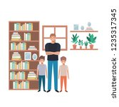 father and sons in livingroom... | Shutterstock .eps vector #1235317345