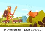 ancient hunter background with... | Shutterstock .eps vector #1235324782