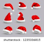 collection of red santa claus... | Shutterstock .eps vector #1235336815