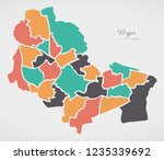 wigan map with wards and modern ... | Shutterstock .eps vector #1235339692