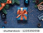 christmas  new year dark blue... | Shutterstock . vector #1235350558