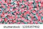 heap of watermelon slices... | Shutterstock . vector #1235357902