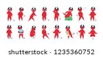 collection of funny red devil... | Shutterstock .eps vector #1235360752