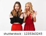 portrait of two angry young... | Shutterstock . vector #1235363245