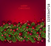 christmas background with balls ... | Shutterstock .eps vector #1235364718