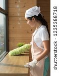 woman cleaner cleaning living... | Shutterstock . vector #1235388718