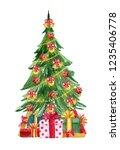 christmas tree. watercolor hand ... | Shutterstock . vector #1235406778