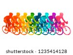 colorful poster with cyclists... | Shutterstock .eps vector #1235414128