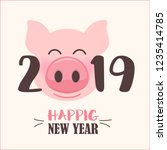 happy new year 2019 with cute... | Shutterstock .eps vector #1235414785