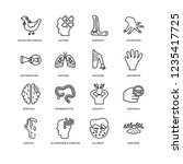 set of 16 diseases linear icons ... | Shutterstock .eps vector #1235417725