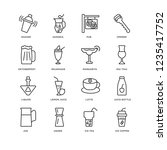set of 16 drinks linear icons... | Shutterstock .eps vector #1235417752