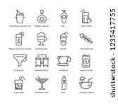set of 16 drinks linear icons... | Shutterstock .eps vector #1235417755