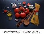 ingredient for spaghetti...   Shutterstock . vector #1235420752