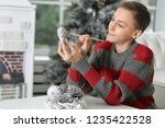 portrait of teen boy preparing...   Shutterstock . vector #1235422528