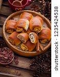 homemade cinnamon buns with...   Shutterstock . vector #1235424538