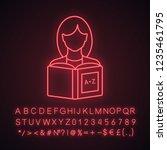 reading neon light icon. basic... | Shutterstock .eps vector #1235461795